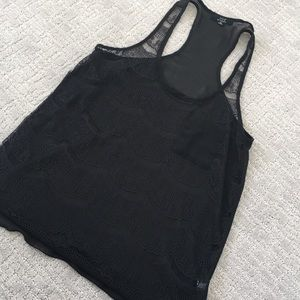 Tops - Black Lace See Through Racer Back Medium (Layer!)